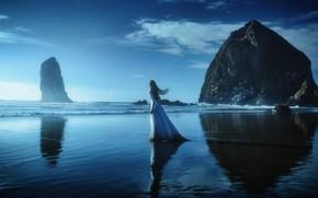 Picture SEA, HORIZON, The OCEAN, DRESS, COAST, MOOD, ROCKS, TJ Drysdale