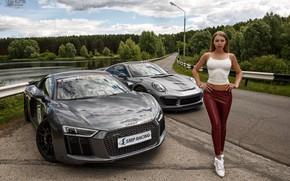Wallpaper Audi, model, Girl, Porsche, figure, legs, Oleg Klimin