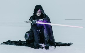 Picture winter, makeup, Star Wars, cloak, lightsaber, cosplay