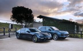 Picture auto, the sky, Porsche, Panamera, Cayenne, Turbo S, E-Hybrid