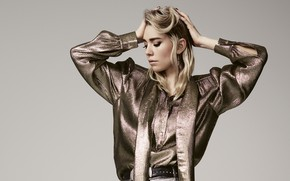 Picture girl, face, pose, background, makeup, Marie Claire, Vanessa Kirby