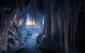 Picture sunset, nature, lake, ice, icicles, Baikal, cave