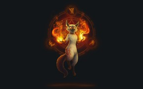 Picture Cat, Cat, Fire, Art, Art, Fiction, Cat, Magic, Minimalism, Demon, Warlock, Pentagram, by Daria Ovchinnikova, …