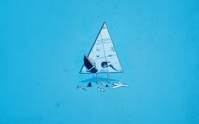 Picture Minimalism, Aircarft, Ship, Humor, Bermuda triangle