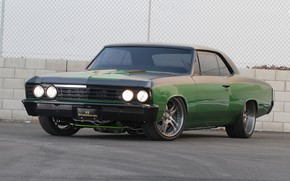 Picture car, machine, green, lights, tuning, Chevrolet, Chevrolet, sedan, drives, front, muscle car, green, wheel, custom, …