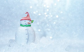 Picture winter, snow, holiday, toy, Christmas, New year, snowman, figure