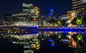 Picture water, trees, night, lights, reflection, river, building, home, Australia, lights, promenade, Melbourne