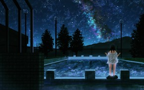Picture girl, night, pool, the milky way