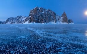 Picture winter, rock, lake, island, ice, Russia, Lake Baikal, Olkhon Island, Cape Khoboy