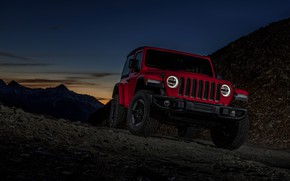 Picture mountains, night, red, 2018, Jeep, pass, Wrangler Rubicon