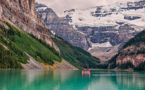 Picture landscape, mountains, nature, lake, boat, the slopes, Canada, Lake Louise, forest, Banff, Banff national Park, …