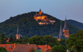 Picture landscape, nature, the city, castle, hills, Germany, roof, backlight, tower, twilight, forest, Saxony-Anhalt, Wernigerode, Wernigerode …