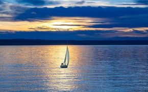 Picture sunset, lake, boat, the evening, sail
