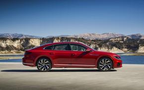Picture red, Volkswagen, in profile, liftback, Arteon, 2019, SEL Premium R-Line