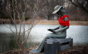 Picture autumn, girl, bench, branches, red, Park, mood, shore, hat, scarf, figure, dress, book, sculpture, sitting, …