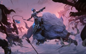 Picture girl, snow, battle, Sejuani, Legends of Runeterra