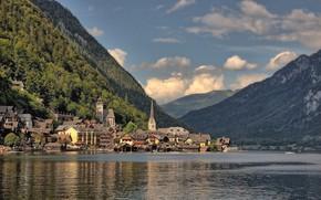 Picture clouds, landscape, mountains, lake, tower, home, Austria, town, Hallstatt, Hallstatt, community