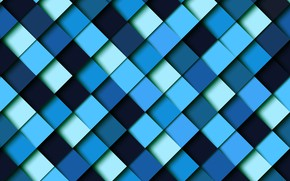 Picture blue, blue, squares, Abstraction, Geometric