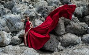 Picture girl, pose, the wind, train, figure, dress, beautiful, Ilya Tkachev