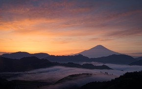 Picture the sky, landscape, sunset, mountains, fog, hills, mountain, the evening, the volcano, Japan, Fuji, forest, …