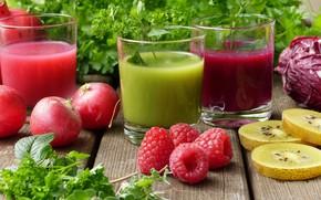 Picture greens, berries, raspberry, Juice