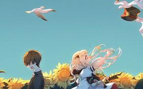 Picture the sky, seagulls, boy, girl, Toilet boy Hanako-kun