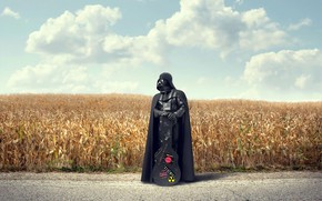 Picture road, field, clouds, guitar, Darth Vader, cloak, Darth Vader