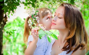 Picture spring, girl, mom