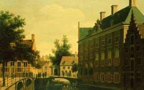 Picture oil, picture, the urban landscape, Gerrit Adriaenszoon Berckheyde, Gerrit Adriaenszoon Berckheyde, 1680, The house is …