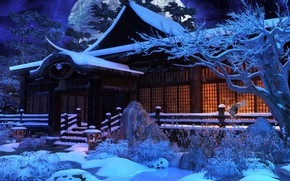 Picture snow, trees, house, the moon, HuNanTang