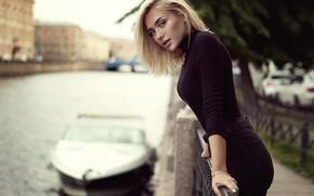 Picture look, water, girl, blonde, boat, Michael Bazaars, Alina Olesheva