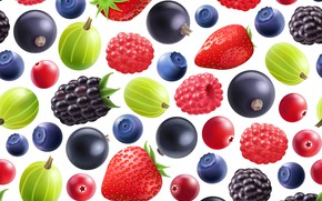 Picture berries, background, blueberries, strawberry, gooseberry, patern