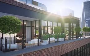 Picture rays, trees, furniture, building, Penthouse apartment