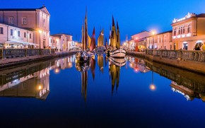 Picture the city, lights, ships, the evening, Italy, channel, sails, parade, Emilia-Romagna, Cesenatico, Emilia Romagna, Cesenatico, …