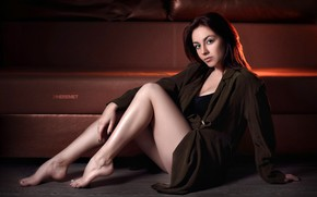 Picture look, pose, sofa, model, portrait, makeup, figure, hairstyle, brown hair, legs, beauty, sitting, on the …