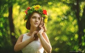 Picture look, girl, flowers, pose, wreath, Maxim Nikolaev
