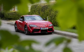 Picture asphalt, red, foliage, coupe, Toyota, Supra, the fifth generation, mk5, double, 2019, UK version, GR …
