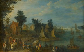 Picture landscape, oil, picture, Village on the banks of the river, Joseph van Bredal, 1723, Joseph …