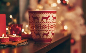 Picture figure, candles, mug, Cup, New year