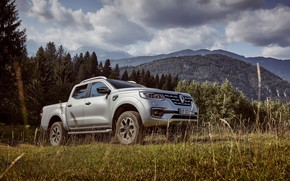 Picture grass, clouds, trees, mountains, meadow, Renault, pickup, 4x4, 2017, Alaskan, gray-silver