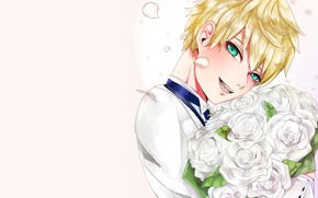 Picture roses, bouquet, guy, Saber, Fate Prototype