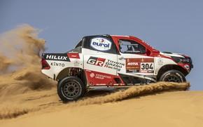 Picture Toyota, side view, pickup, Hilux, 2020, Rally Dakar, 2021, Gazoo Racing