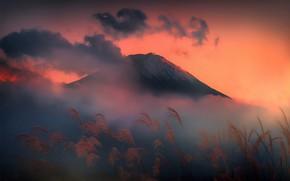 Picture clouds, mountain, Japan, Fuji