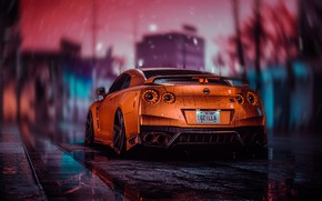Picture Drops, Auto, The game, Machine, Style, Orange, Car, NFS, Art, Style, Godzilla, Nissan GT-R, Sports …