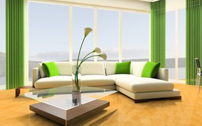 Picture flowers, design, style, sofa, interior, vase, table, living room, modern