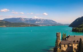 Picture mountains, lake, France, Bank, Rhône-Alpes, Бурже, Le Lac du Bourget