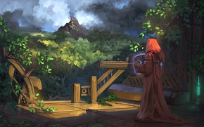 Picture Jeremy Adams, man, hood, gazebo, artwork, illustration, forest, fantasy art, trees, book, magic, dark, sorcerer, …