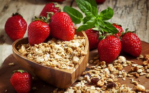 Picture berries, strawberry, wood, raisins, muesli, cutting Board, muesli