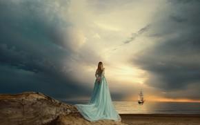 Picture sea, the sky, girl, sunset, mood, sailboat, dress, Renat Khismatulin