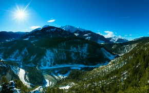 Picture the sun, snow, mountains, the slopes, Switzerland, Alps, canyon, Ruinaulta
